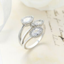 Holiday Jewelry Gift Genuine White Fire Topaz Gems Silver Adjustable Ring