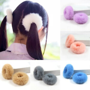 2Pcs Girl Elastic Fluffy Faux Fur Scrunchie Hair Ring Rope Band Ponytail Holder