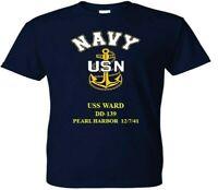 USS WARD  DD-139  PEARL HARBOR WW II VINYL & SILKSCREEN NAVY ANCHOR SHIRT.
