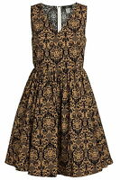 La Redoute Black & Gold Baroque Print 1950's Vintage Style Dress Size 14 -20