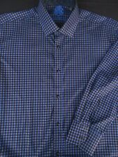 English Laundry Mens Button Front Long Sleeve Black Blue Cotton Plaid Shirt 17