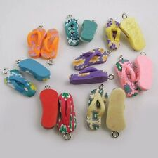 **MultiColor Tone Polymer Clay Slippers Pendants Charms Craft Finding 5pcs 37407