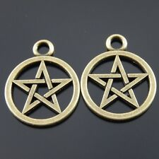 10 pcs Antique Style Bronze Alloy Pentacle Symbol Pendant Charm Jewelry 20mm