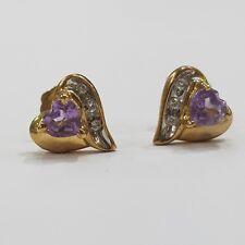 9ct 9k Yellow Gold Stud Earrings Diamond Amethyst| 1.5 Grams | Brand New Instore