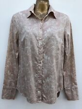 NWOT CALVIN KLEIN Cotton Shirt Top Size Small UK 10 Beige & Cream Floral
