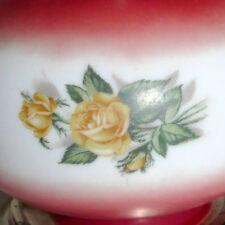 "Lighting HURRICANE LAMP Table Light Vintage 2 Pc Roses Burgundy Yellow 17"""