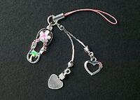 Silver Dangle Heart Crystal Pink Enamel Flower Hawaiian Sandal Cell Phone Charm