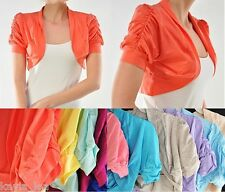Ruched Short Sleeve Cropped Bolero/Shrug Top Plus 1X/2X/3X *7 Colors Available*