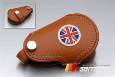 Union Jack Remote Tan Real Leather Key Cover for BMW MINI Cooper S R55 R56 R57
