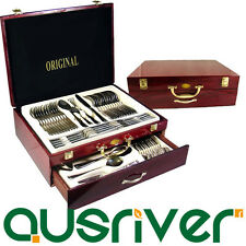 72pcs Deluxe Stainless Steel Cutlery Set In Red Wooden Box Splayd Knife Gift Set