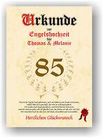 Engelshochzeit Urkunde zum 85. Hochzeitstag Geschenkidee Engel Hochzeit NEU