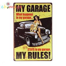 MY GARAGE RULES VINTAGE Tin Sign Bar pub home Wall Decor Retro Metal ART Poster