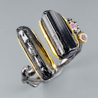 Fashion Women Natural Tourmaline 925 Sterling Silver Ring Size 10/R116999