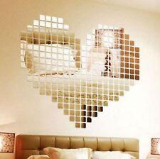 100 pcs sticker mosaïque mural coeur miroir couleur or auto adhésif déco