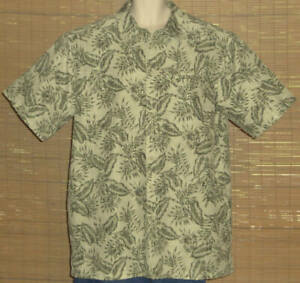 LL Bean Hawaiian Shirt Green Tan Floral Size XL-TALL