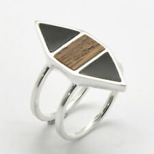 Barse Jewelry Silver Plated, Onyx and Wood Ring Size 8