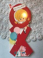 Vintage Greeting Card Birthday Xo Girl Rag Doll Cat Hugs Kisses Hallmark Used