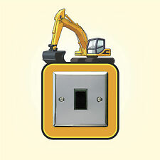 Digger Construction Theme Light Switch Surround Wall Sticker Plug Cover Decal