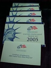 5 - EMPTY REPLACEMENT PROOF SET BOXES & COA   2005   ** NO COINS **