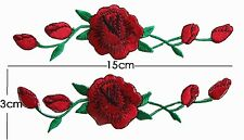 2X Red Sew Rose Flower Embroidered Patch For Shoes Embroidery Applique Craft DIY