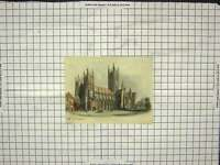 Original Old Antique Print 1840 Canterbury Cathedral Architecture Colour 19th