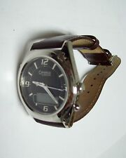 Sharp CARAVELLE Bulova Men's Black Faced Brown Leather Watch - Appears New