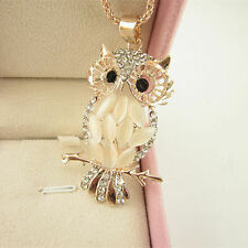 Women Gold Owl Rhinestone Crystal Pendant Necklace Long Sweater Chain Jewelry