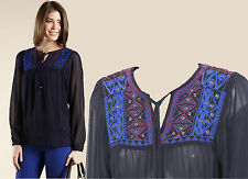 MONSOON Navy Kirsty Embroidered Long Sleeve Sheer Casual Formal Shirt Top S £49