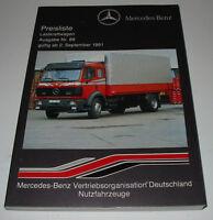 Preisliste Lastkraftwagen LKW Mercedes Pritsche Kasten Kipper Sattelzug 09/1991!