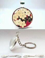 Cherry Blossom (Sakura) Japanese Style Flower - Photo Glass Dome Keyring