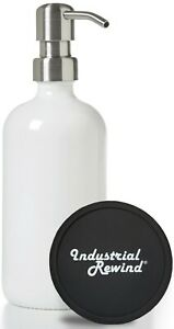 White Glass Soap Dispenser with Stainless Soap Pump - 16oz Lotion Dispenser Pump