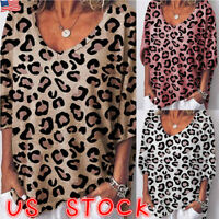 Women V Neck Ladies Leopard Print Short Sleeve Loose T Shirt Tops Blouse Summer