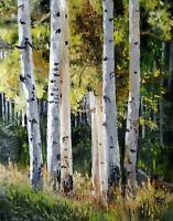 YARY DLUHOS ORIGINAL ART OIL PAINTING Landscape Forest Aspen Birch Trees Woods