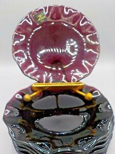 7 NEW Mikasa Laslo Glass Amethyst Purple Embossed Ruffled Lotus Side Plate Japan