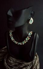 LISNER Vintage Set Necklace Earrings Clips Leaf Design Blue Rhinestone