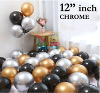 "10-20 PEARL LATEX METALLIC CHROME BALLOONS 12"" Baloons Helium Balons Birthday UK"