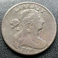 1806 Large Cent Draped Bust One Cent 1c Higher Grade VF - XF  #17688