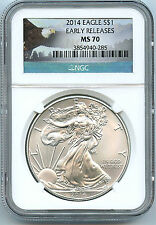 2014 American Silver Eagle Dollar NGC MS 70 Early Release $1 Eagle Label Coin C8