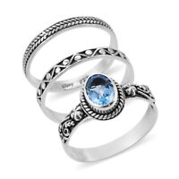 BALI LEGACY 925 Sterling Silver Blue Topaz Set of 3 Solitaire Ring Size 5 Ct 1.5