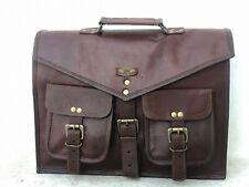 "16"" Large Vintage Men Leather Tote Briefcase Office Working Laptop Bag Travel"