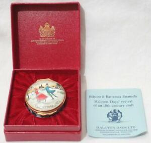 Boxed Halcyon Days Bilston & Battersea Enamel Pill Trinket Box - Christmas 1977