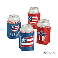 Patriotic Can Covers Drink Koozie Set of 4 - FREE First Class U.S Ship