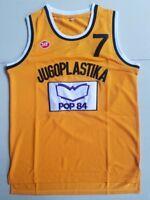 Toni Kukoc 7 Jugoplastika Throwback Basketball Jersey Yugoslavia Yellow Stitched