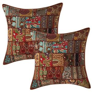 Bohemian Lounge Sofa Cushion Covers 24x24 Large Patchwork Cotton Set Of 2