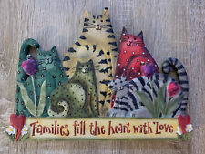 Cat Multicolored Primitive Wall Plaque Hanging Families Fill The Heart With Love