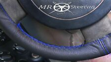 FITS VW LUPO 1998-2005 TRUE LEATHER STEERING WHEEL COVER R BLUE DOUBLE STITCHING