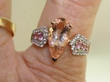 BEAUTIFUL 1OK ROSE GOLD APPROX. 4 CTW MORGANITE W/WHITE & PINK TOPAZ RING! SZ10