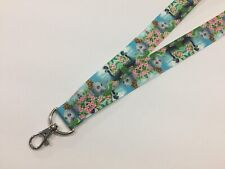 """Pretty Elephants and Peacocks 1"""" Wide Id Lanyard with Lobster Claw Clasp"""