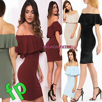 Womens Ladies off the shoulder Ruffle Frill Bardot Bodycon mini Dress size 8-16