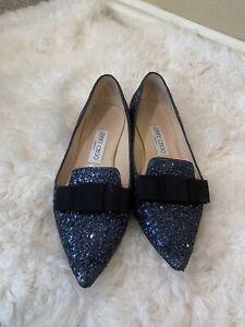 Jimmy Choo Gala Glitter Leather Flat Women's SIZE 36 SIZE 6